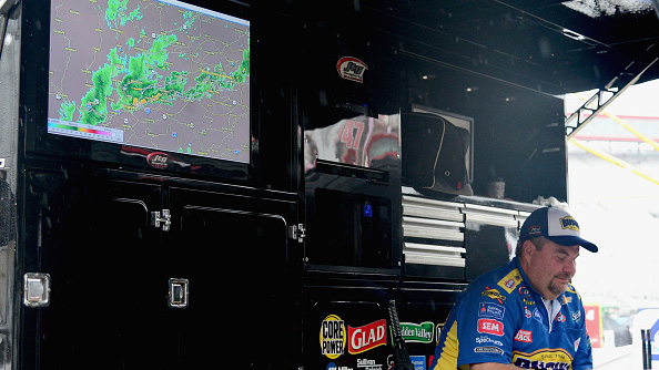 BRISTOL, TN - AUGUST 21: A radar map displays the weather in a pit box as a rain falls prior to the NASCAR Sprint Cup Series Bass Pro Shops NRA Night Race at Bristol Motor Speedway on August 21, 2016 in Bristol, Tennessee. The race was delayed due to inclement weather on Saturday, August 20.  (Photo by Jeff Curry/NASCAR via Getty Images)